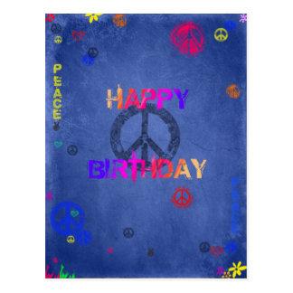Postal del azul de la tarjeta del feliz cumpleaños