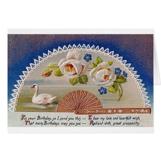 Postal del azul del cisne del cumpleaños del vinta tarjeta de felicitación