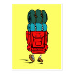Postal del Backpacker del dibujo animado