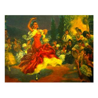 Postal del bailarín del flamenco