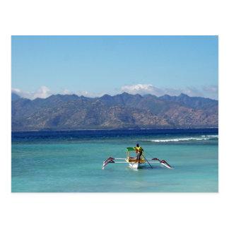 Postal del barco de las islas de Gili
