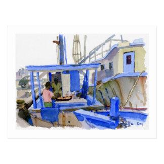 Postal del barco de los pescados de los alfareros