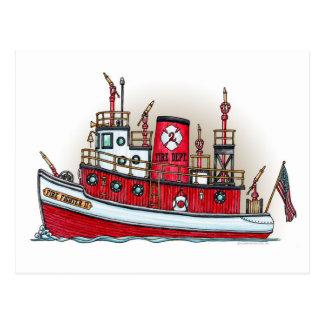 Postal del barco del fuego