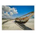Postal del barco del pescador de Zanzíbar