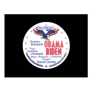 Postal del boleto de Obama Biden