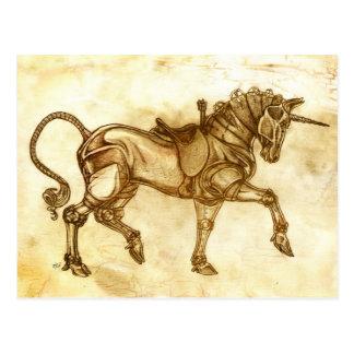 Postal del bosquejo del unicornio de Steampunk