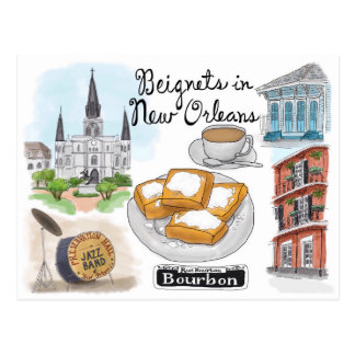 Postal del bosquejo del viaje: Beignets en New Orl