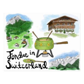 Postal del bosquejo del viaje fondue en Suiza