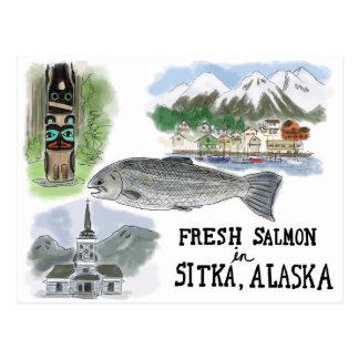 Postal del bosquejo del viaje: Salmones en Sitka,