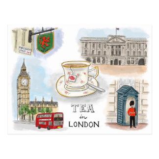 Postal del bosquejo del viaje Té en Londres Ingla