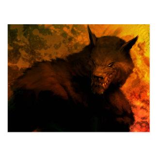 Postal del busto del hombre lobo