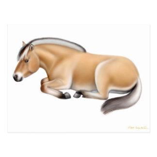 Postal del caballo del fiordo en descanso