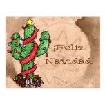 Postal del cactus de navidad