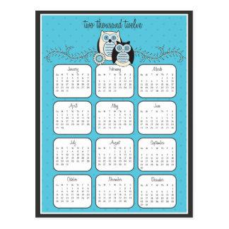 Postal del calendario de los búhos 2012 del invier