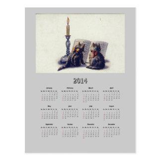 Postal del calendario de los gatos 2014 del vintag