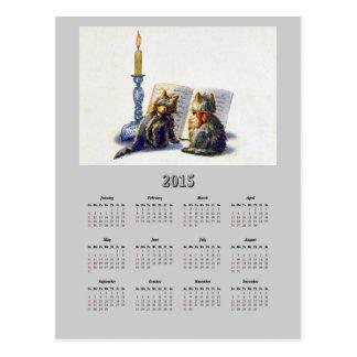 Postal del calendario de los gatos 2015 del vintag