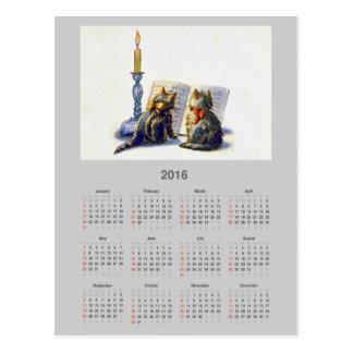 Postal del calendario de los gatos 2016 del