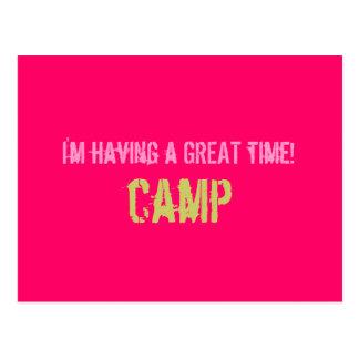 Postal del campamento de verano - rosa fuerte