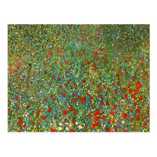 Postal del campo de la amapola de Gustavo Klimt