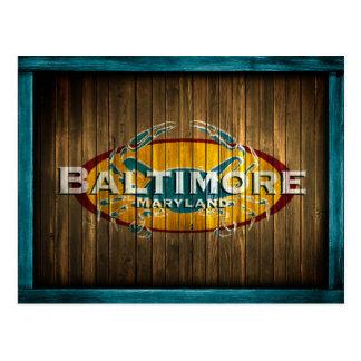 Postal del cangrejo azul de Baltimore