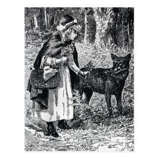 Postal del Caperucita Rojo y del lobo