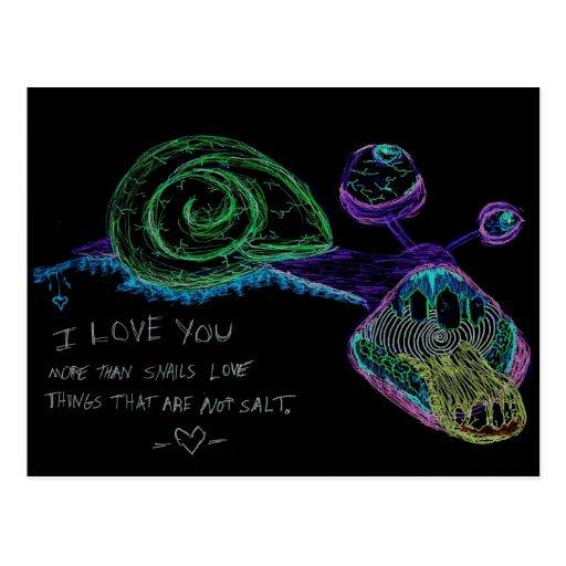 Postal del caracol del neón te amo