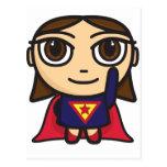 Postal del carácter del chica del superhéroe