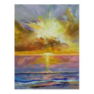Postal del Caribe de la puesta del sol