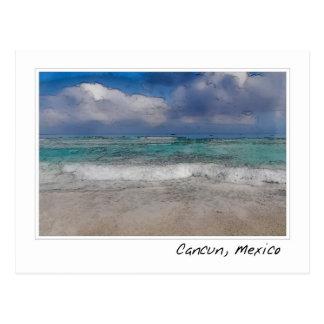 Postal del Caribe del océano de Cancun México