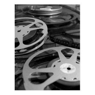 Postal del carrete de la película y de la película