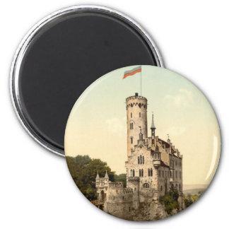 Postal del castillo de Lichtenstein Imán Redondo 5 Cm
