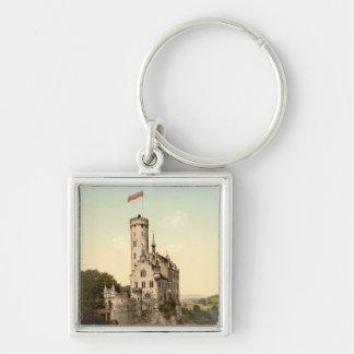 Postal del castillo de Lichtenstein Llavero Cuadrado Plateado