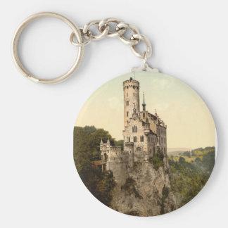 Postal del castillo de Lichtenstein Llavero Redondo Tipo Pin
