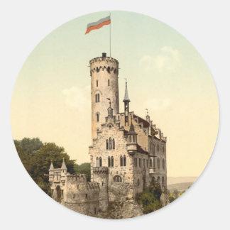Postal del castillo de Lichtenstein Pegatina Redonda