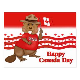 Postal del castor del día de Canadá