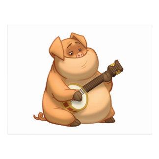 Postal del cerdo del Banjo-Strummin'