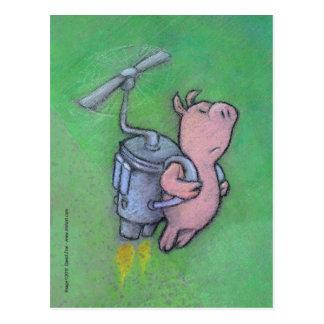 postal del cerdo del cohete