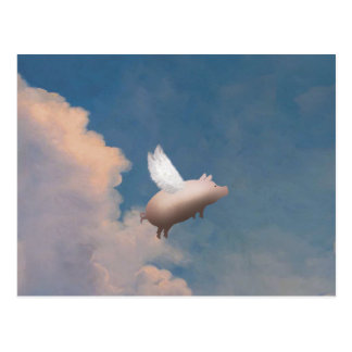 postal del cerdo del vuelo