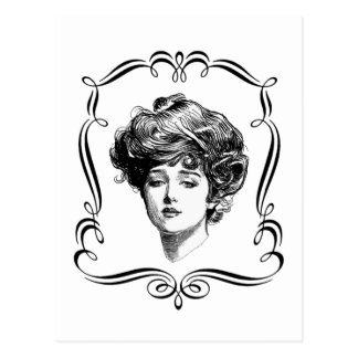 Postal del chica de Gibson del arte del vintage