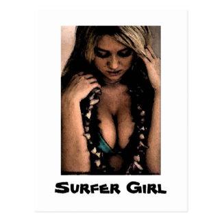 Postal del chica de la persona que practica surf
