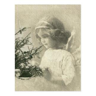 Postal del chica del ángel del navidad del vintage