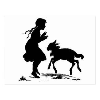 Postal del chica y del cordero