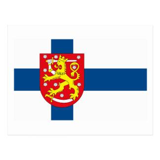 Postal del COA de la bandera w de Finlandia