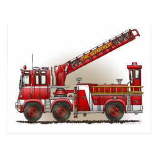 Postal del coche de bomberos de gancho y de escale