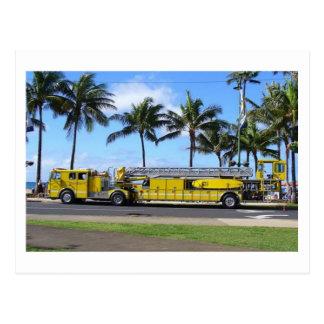 Postal del coche de bomberos de Hawaii