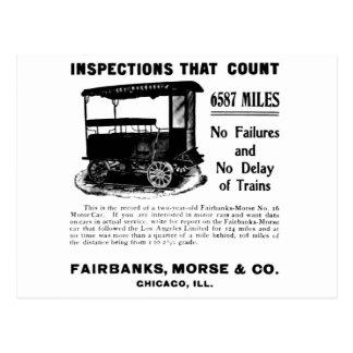 Postal del coche de la inspección de la pista de F