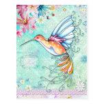 Postal del colibrí de la fe
