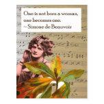 Postal del collage de la cita de Simone de Beauvoi