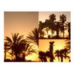 Postal del collage de la puesta del sol de Santa M