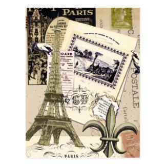 Postal del collage de París del vintage…